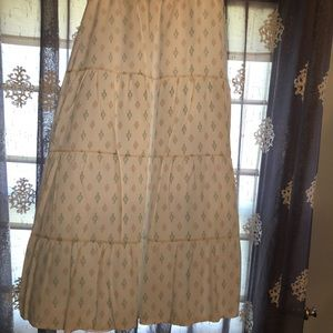 Old Navy White Skirt with Teal and Tan Diamonds